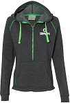 J. America Ladies Half Zip Triblend Hooded Pullover Sweatshirt